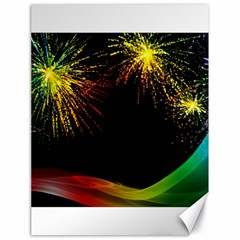 Rainbow Fireworks Celebration Colorful Abstract Canvas 18  X 24