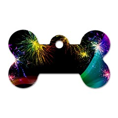 Rainbow Fireworks Celebration Colorful Abstract Dog Tag Bone (two Sides)