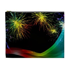 Rainbow Fireworks Celebration Colorful Abstract Cosmetic Bag (xl)