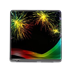 Rainbow Fireworks Celebration Colorful Abstract Memory Card Reader (square)