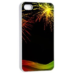 Rainbow Fireworks Celebration Colorful Abstract Apple Iphone 4/4s Seamless Case (white)