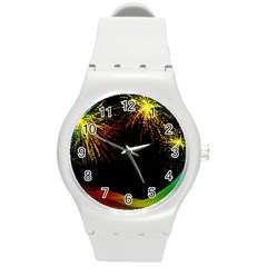 Rainbow Fireworks Celebration Colorful Abstract Round Plastic Sport Watch (m)