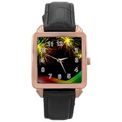 Rainbow Fireworks Celebration Colorful Abstract Rose Gold Leather Watch