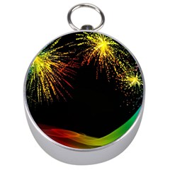 Rainbow Fireworks Celebration Colorful Abstract Silver Compasses