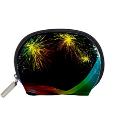 Rainbow Fireworks Celebration Colorful Abstract Accessory Pouches (small)