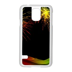 Rainbow Fireworks Celebration Colorful Abstract Samsung Galaxy S5 Case (white)