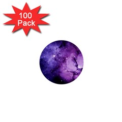 Purple Space 1  Mini Buttons (100 Pack)