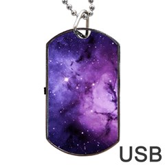 Purple Space Dog Tag Usb Flash (two Sides)