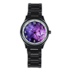 Purple Space Stainless Steel Round Watch