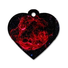 Red Nebulae Stella Dog Tag Heart (two Sides)