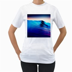 Rolling Waves Women s T Shirt (white) (two Sided)