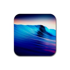 Rolling Waves Rubber Square Coaster (4 Pack)