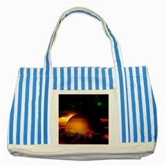 Saturn Rings Fantasy Art Digital Striped Blue Tote Bag