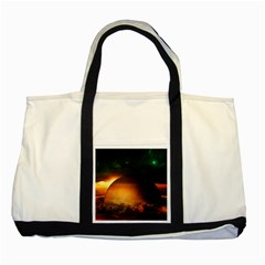 Saturn Rings Fantasy Art Digital Two Tone Tote Bag