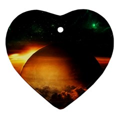Saturn Rings Fantasy Art Digital Heart Ornament (two Sides)