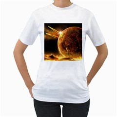 Sci Fi Planet Women s T Shirt (white) (two Sided)