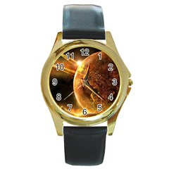 Sci Fi Planet Round Gold Metal Watch
