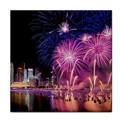 Singapore New Years Eve Holiday Fireworks City At Night Tile Coasters