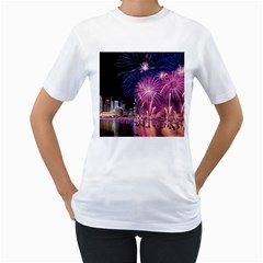 Singapore New Years Eve Holiday Fireworks City At Night Women s T Shirt (white) (two Sided)