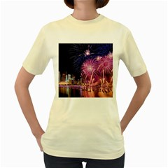 Singapore New Years Eve Holiday Fireworks City At Night Women s Yellow T Shirt