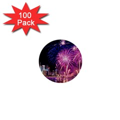 Singapore New Years Eve Holiday Fireworks City At Night 1  Mini Buttons (100 Pack)
