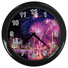 Singapore New Years Eve Holiday Fireworks City At Night Wall Clocks (black)