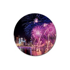 Singapore New Years Eve Holiday Fireworks City At Night Magnet 3  (round)