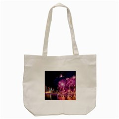 Singapore New Years Eve Holiday Fireworks City At Night Tote Bag (cream)