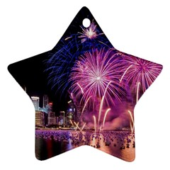 Singapore New Years Eve Holiday Fireworks City At Night Star Ornament (two Sides)