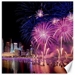 Singapore New Years Eve Holiday Fireworks City At Night Canvas 12  X 12