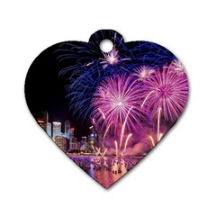 Singapore New Years Eve Holiday Fireworks City At Night Dog Tag Heart (two Sides)
