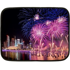 Singapore New Years Eve Holiday Fireworks City At Night Double Sided Fleece Blanket (mini)