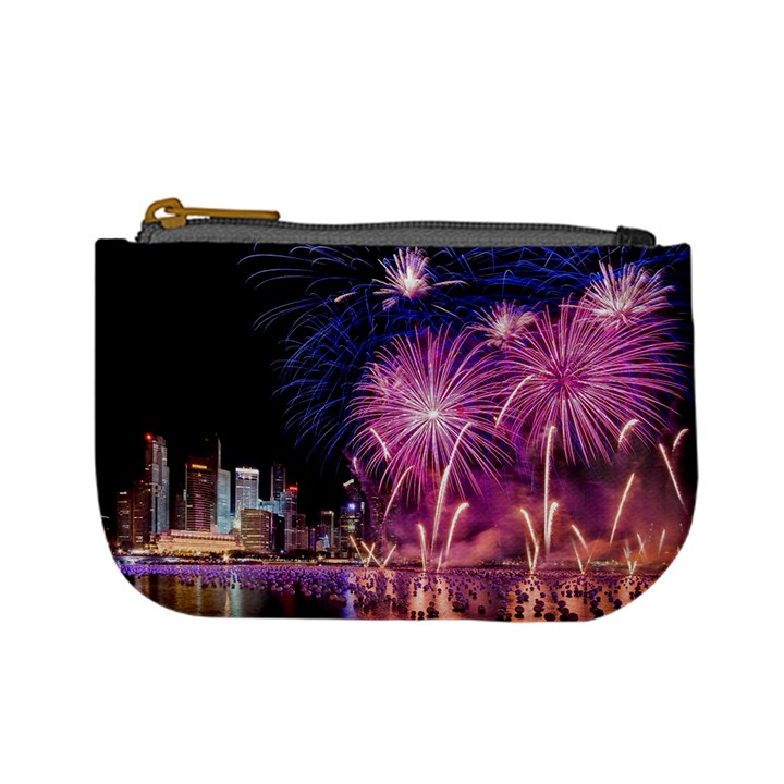 Singapore New Years Eve Holiday Fireworks City At Night Mini Coin Purses