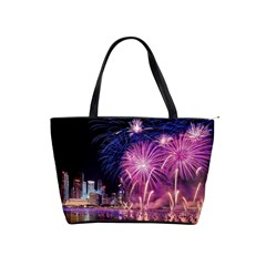 Singapore New Years Eve Holiday Fireworks City At Night Shoulder Handbags