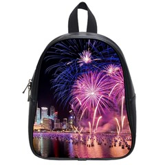 Singapore New Years Eve Holiday Fireworks City At Night School Bags (small)