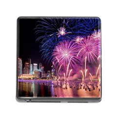 Singapore New Years Eve Holiday Fireworks City At Night Memory Card Reader (square)