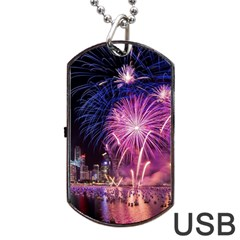 Singapore New Years Eve Holiday Fireworks City At Night Dog Tag Usb Flash (two Sides)