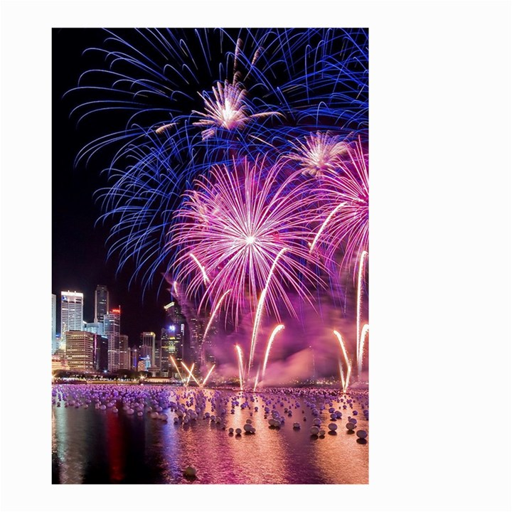 Singapore New Years Eve Holiday Fireworks City At Night Small Garden Flag (Two Sides)