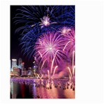 Singapore New Years Eve Holiday Fireworks City At Night Small Garden Flag (Two Sides) Back