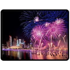 Singapore New Years Eve Holiday Fireworks City At Night Double Sided Fleece Blanket (large)