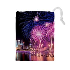 Singapore New Years Eve Holiday Fireworks City At Night Drawstring Pouches (large)