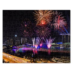 Singapore The Happy New Year Hotel Celebration Laser Light Fireworks Marina Bay Rectangular Jigsaw Puzzl