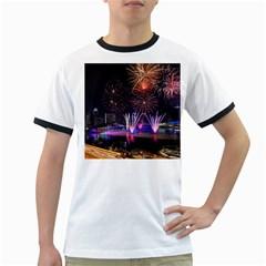 Singapore The Happy New Year Hotel Celebration Laser Light Fireworks Marina Bay Ringer T Shirts