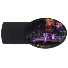 Singapore The Happy New Year Hotel Celebration Laser Light Fireworks Marina Bay Usb Flash Drive Oval (4 Gb)