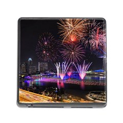 Singapore The Happy New Year Hotel Celebration Laser Light Fireworks Marina Bay Memory Card Reader (square)