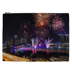 Singapore The Happy New Year Hotel Celebration Laser Light Fireworks Marina Bay Cosmetic Bag (xxl)