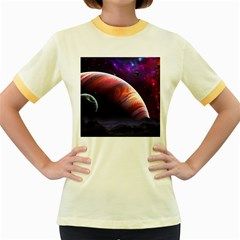 Space Art Nebula Women s Fitted Ringer T Shirts