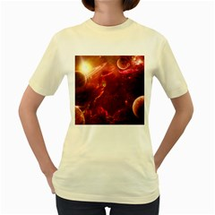 Space Red Women s Yellow T Shirt