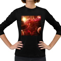 Space Red Women s Long Sleeve Dark T Shirts
