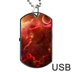 Space Red Dog Tag Usb Flash (two Sides)